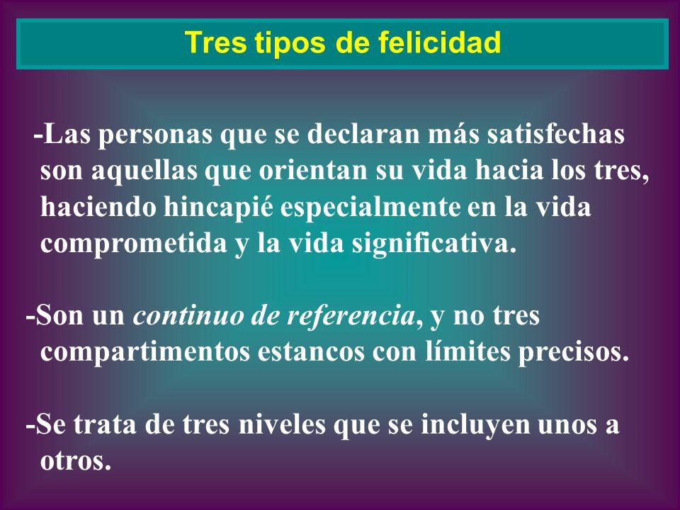 -Las personas que se declaran más satisfechas son aquellas que orientan su vida hacia los tres, haciendo hincapié especialmente en la vida comprometid
