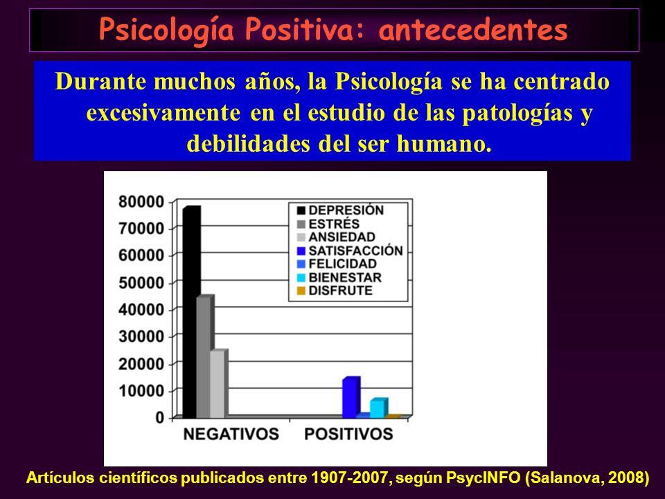 Psicología Positiva: antecedentes Durante muchos años, la Psicología se ha centrado excesivamente en el estudio de las patologías y debilidades del se