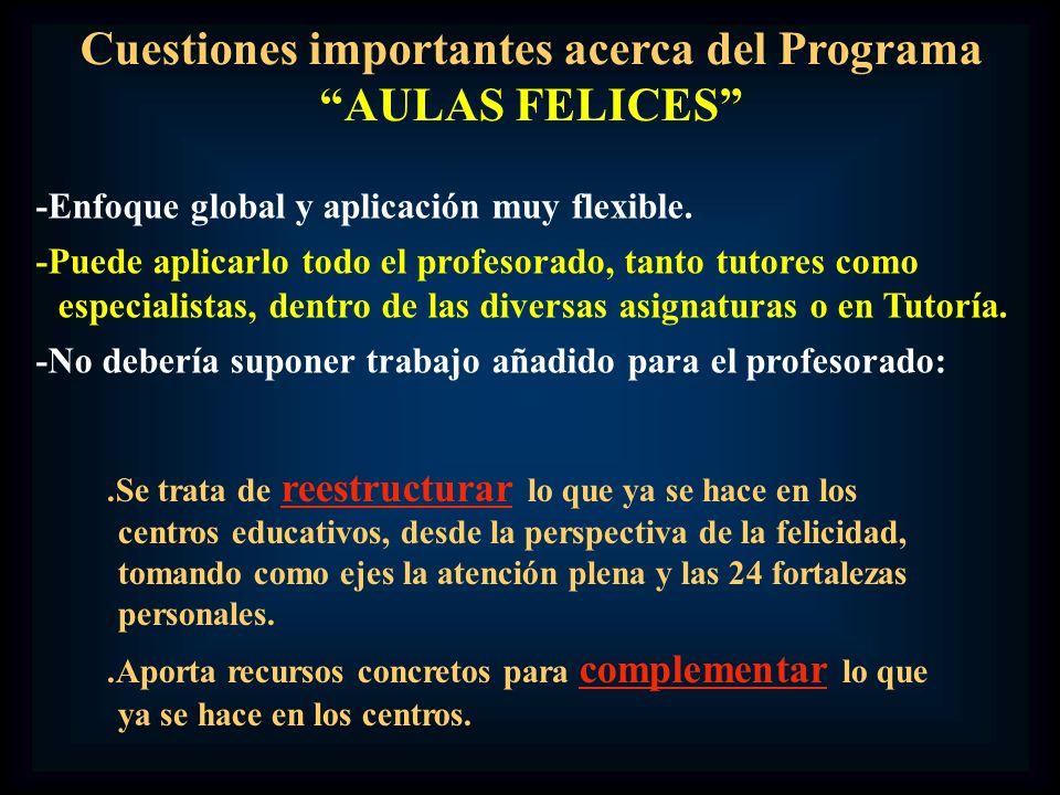 Cuestiones importantes acerca del Programa AULAS FELICES -Enfoque global y aplicación muy flexible. -Puede aplicarlo todo el profesorado, tanto tutore