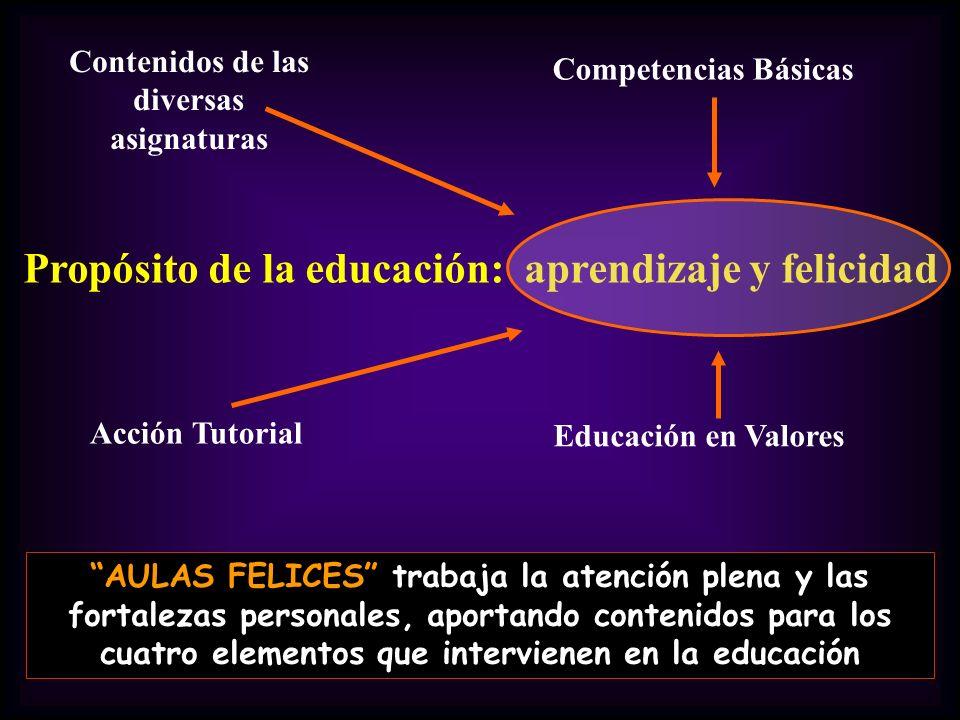 Propósito de la educación: aprendizaje y felicidad Acción Tutorial Educación en Valores Competencias Básicas Contenidos de las diversas asignaturas AU