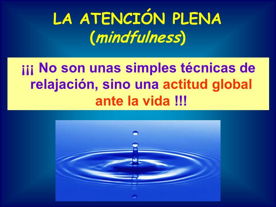 LA ATENCIÓN PLENA (mindfulness) ¡¡¡ No son unas simples técnicas de relajación, sino una actitud global ante la vida !!!