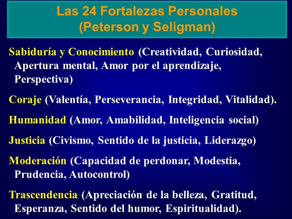 Sabiduría y Conocimiento (Creatividad, Curiosidad, Apertura mental, Amor por el aprendizaje, Perspectiva) Coraje (Valentía, Perseverancia, Integridad,