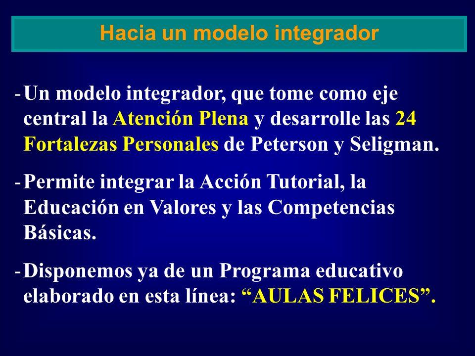 -Un modelo integrador, que tome como eje central la Atención Plena y desarrolle las 24 Fortalezas Personales de Peterson y Seligman. -Permite integrar