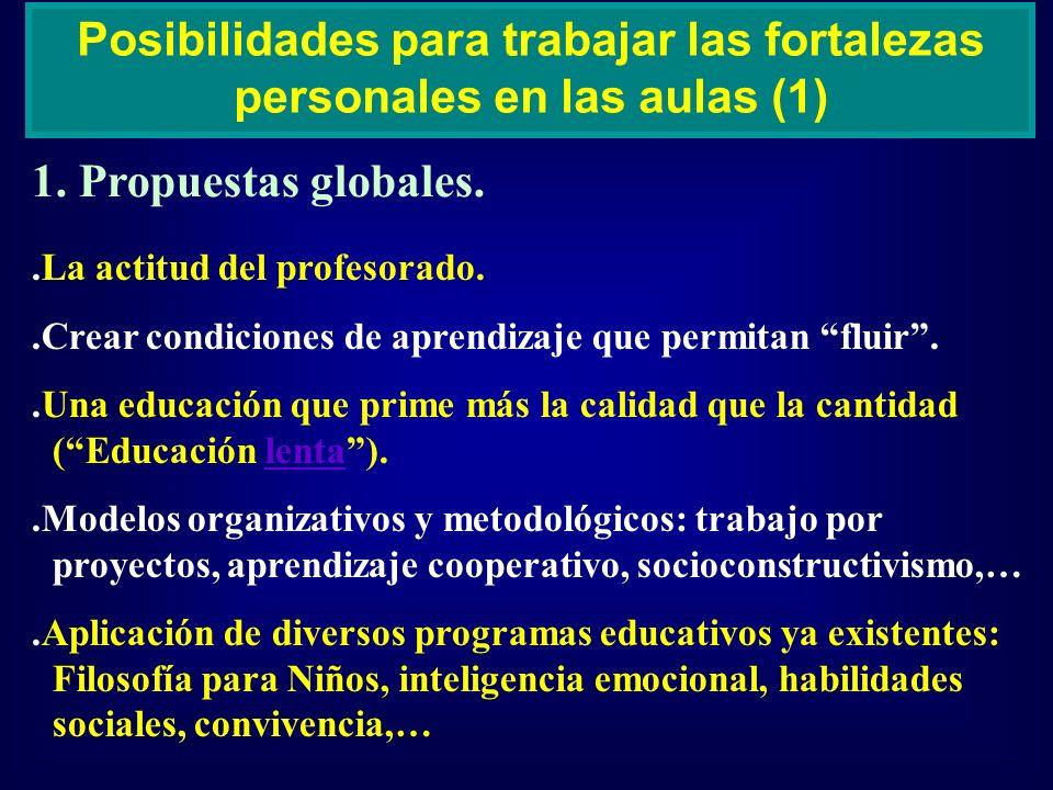 1. Propuestas globales. Posibilidades para trabajar las fortalezas personales en las aulas (1).La actitud del profesorado..Crear condiciones de aprend