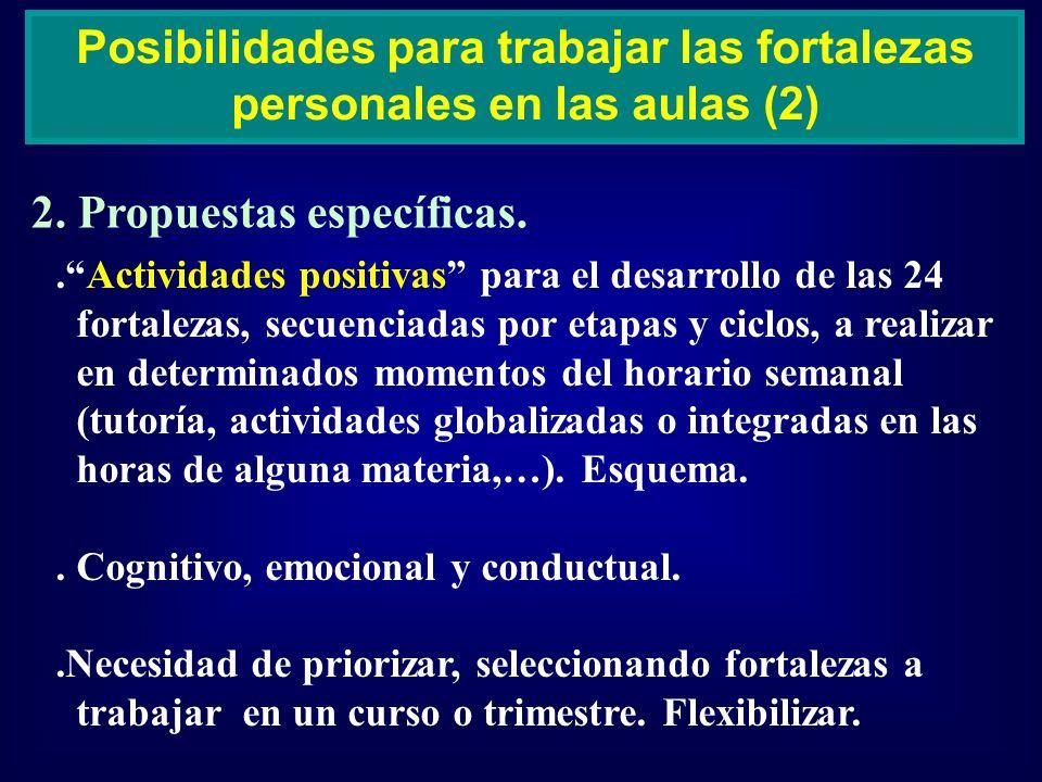 2. Propuestas específicas. Posibilidades para trabajar las fortalezas personales en las aulas (2).Actividades positivas para el desarrollo de las 24 f