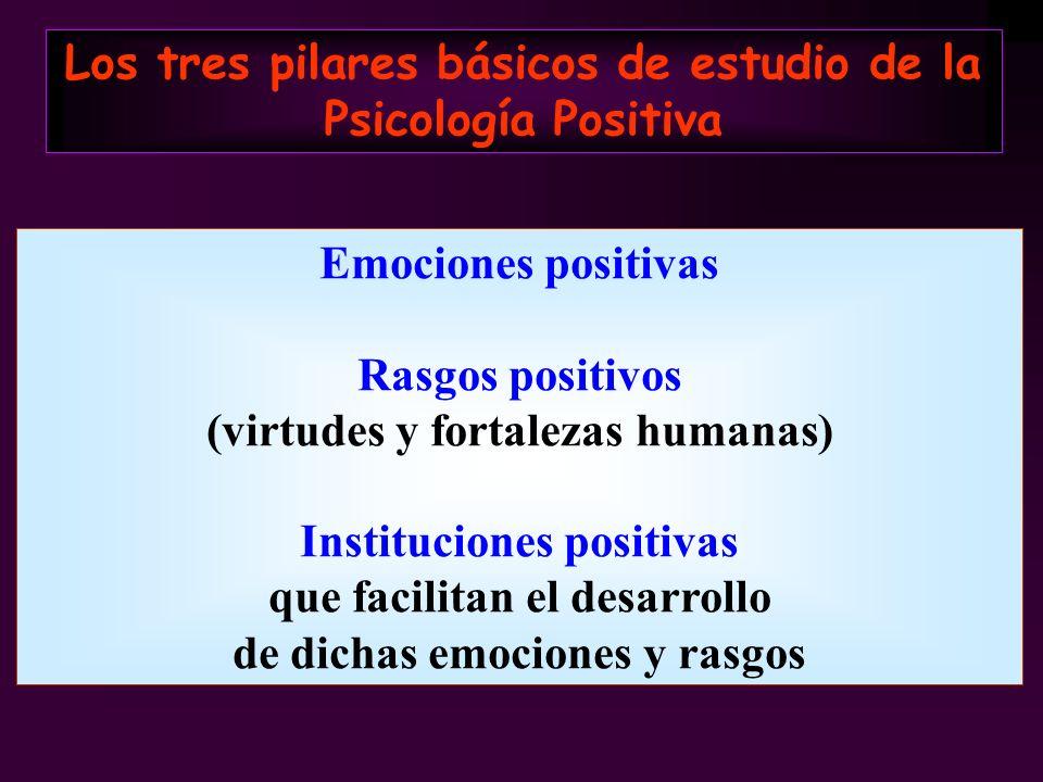 Emociones positivas Rasgos positivos (virtudes y fortalezas humanas) Instituciones positivas que facilitan el desarrollo de dichas emociones y rasgos