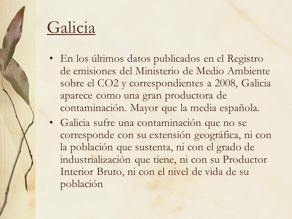 Galicia En los últimos datos publicados en el Registro de emisiones del Ministerio de Medio Ambiente sobre el CO2 y correspondientes a 2008, Galicia a
