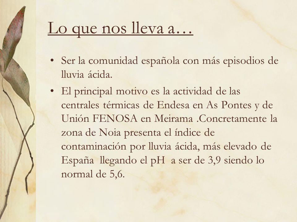 Lo que nos lleva a… Ser la comunidad española con más episodios de lluvia ácida. El principal motivo es la actividad de las centrales térmicas de Ende