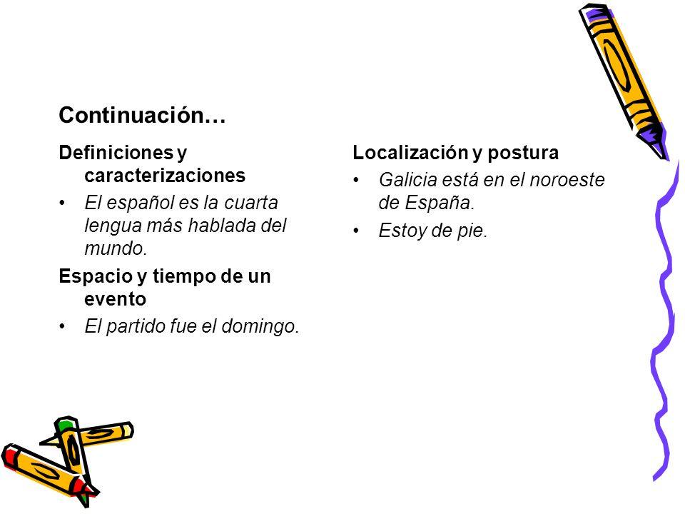 Continuación… Definiciones y caracterizaciones El español es la cuarta lengua más hablada del mundo. Espacio y tiempo de un evento El partido fue el d