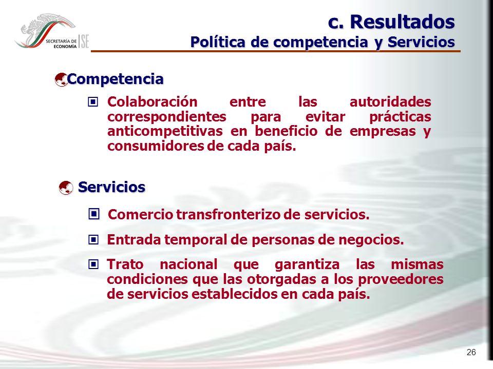 26 Colaboración entre las autoridades correspondientes para evitar prácticas anticompetitivas en beneficio de empresas y consumidores de cada país.