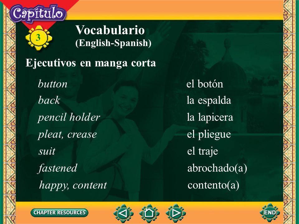 3 Vocabulario hacer juegoto match (clothes) plancharto iron sentar (ie)to fit (English-Spanish) Conversación