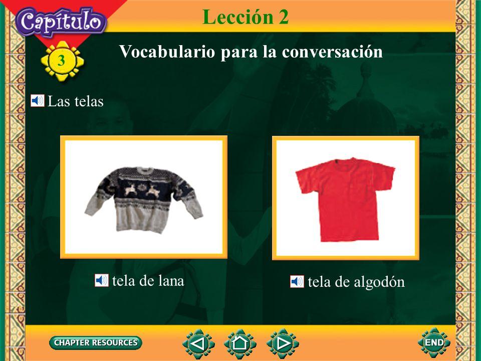 3 Lección 2 Vocabulario para la conversación Me gusta esta corbata. A mí también. Te sienta bien y hace juego con la camisa. una camisa la corbata el