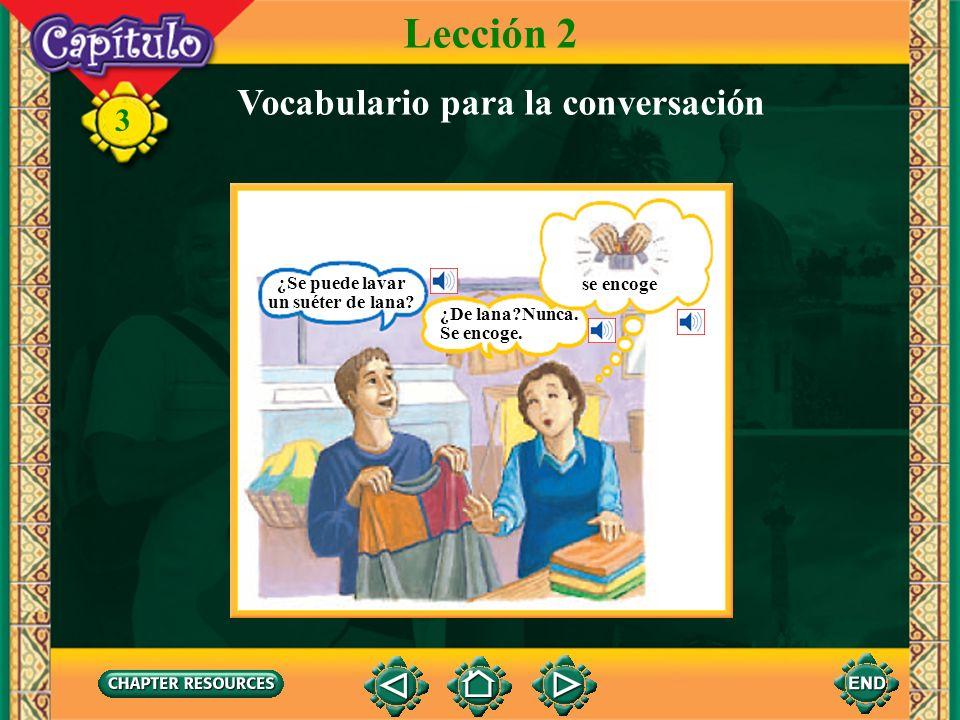 3 Lección 2 Vocabulario para la conversación tela de ante, gamuza tela de cuero
