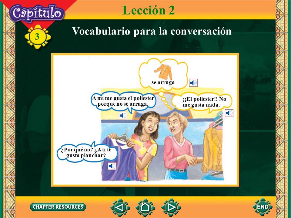 3 Lección 2 Vocabulario para la conversación ¿Se puede lavar un suéter de lana? ¿De lana?Nunca. Se encoge. se encoge