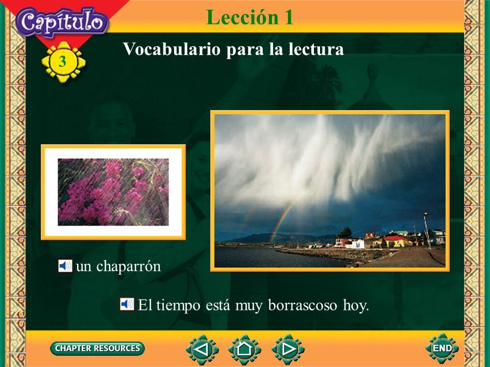 3 Vocabulario para la lectura Lección 1 un chaparrón El tiempo está muy borrascoso hoy.