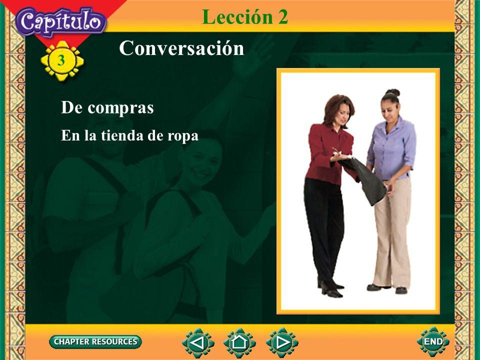 3 Conversación Dependiente A ver. Trescientos pesos. Roberto De acuerdo. De compras Lección 2 En una tienda de calzado