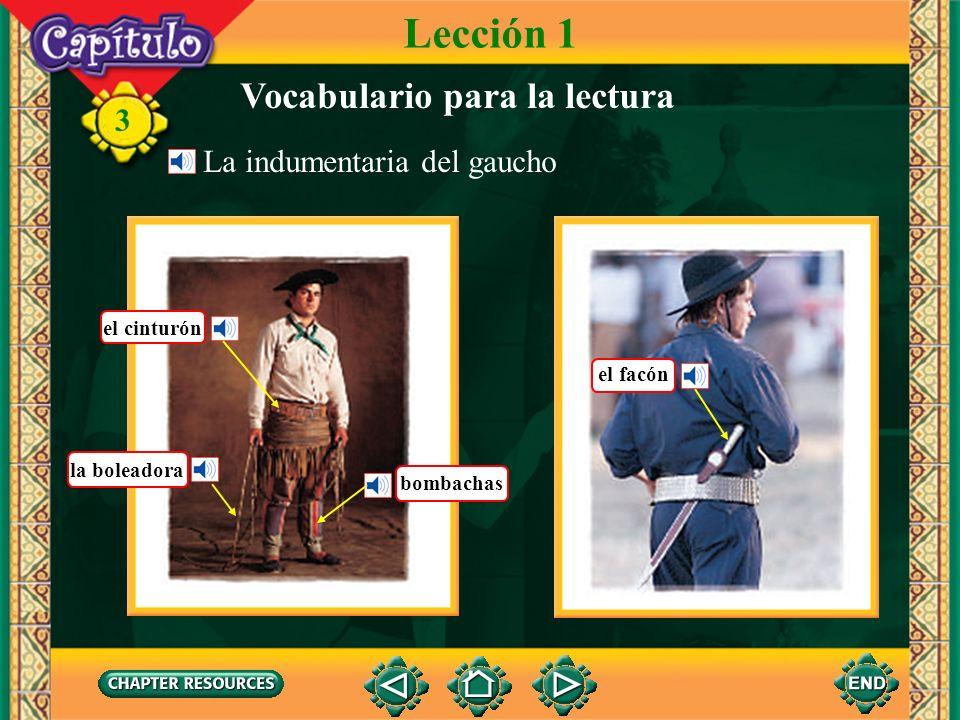 3 Vocabulario para la lectura Lección 1 La indumentaria del gaucho el cinturón la boleadora bombachas el facón