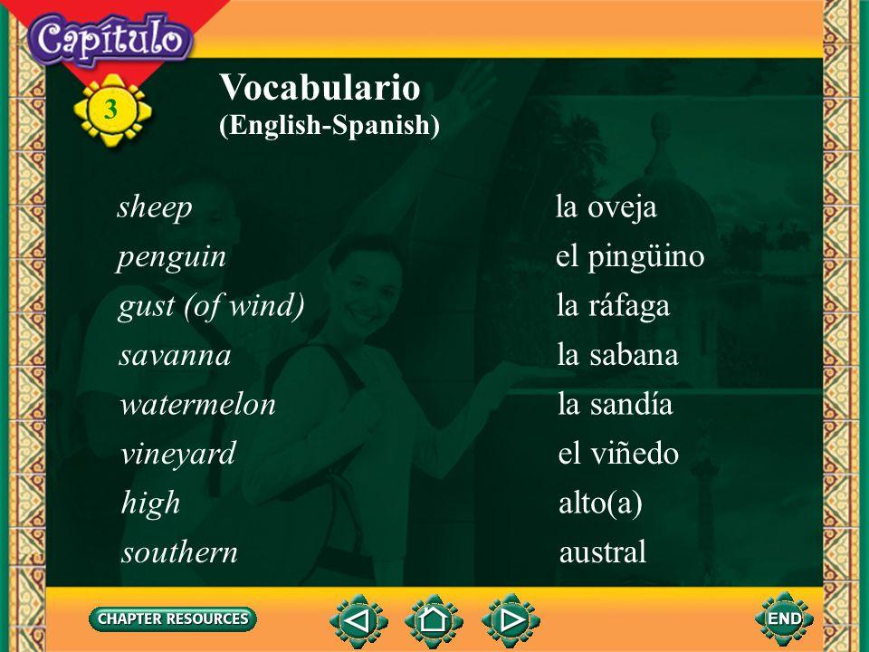 3 Vocabulario la ballenawhale (English-Spanish) el cerrohill el chaparróndownpour el elefante marinoelephant seal el glaciarglacier la llanuraplain el