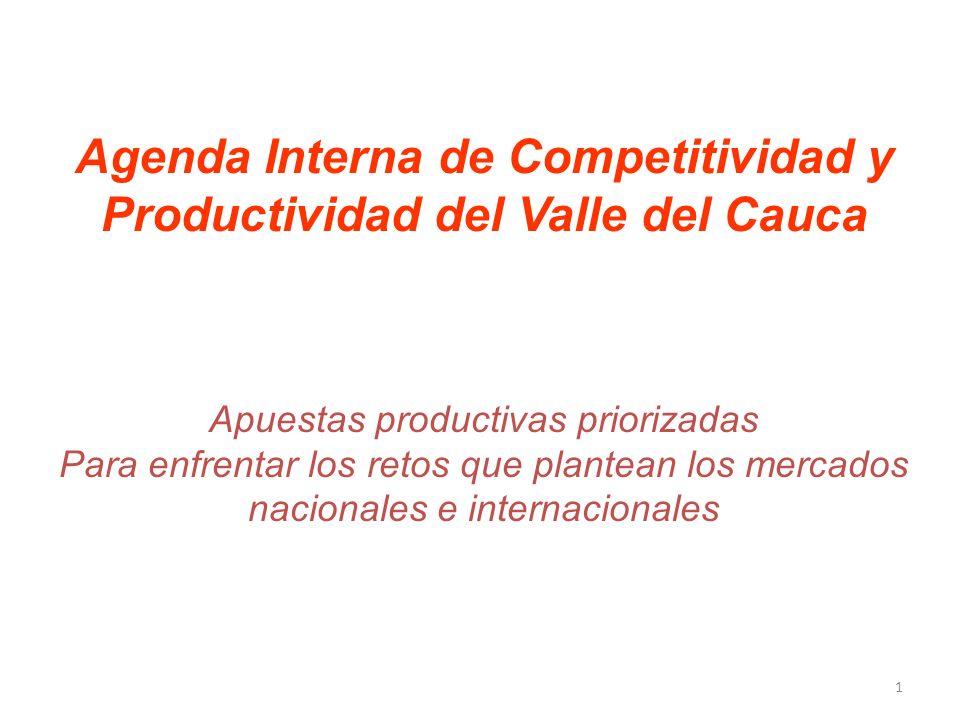 Agenda Interna de Competitividad y Productividad del Valle del Cauca Apuestas productivas priorizadas Para enfrentar los retos que plantean los mercados nacionales e internacionales 1