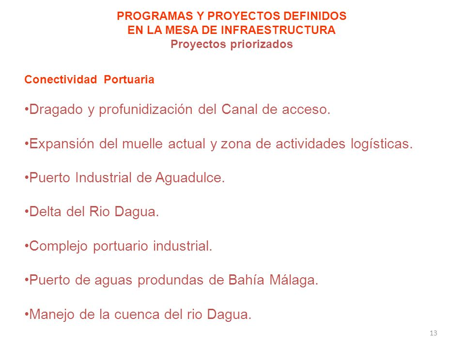 PROGRAMAS Y PROYECTOS DEFINIDOS EN LA MESA DE INFRAESTRUCTURA Proyectos priorizados Conectividad Portuaria Dragado y profunidización del Canal de acceso.