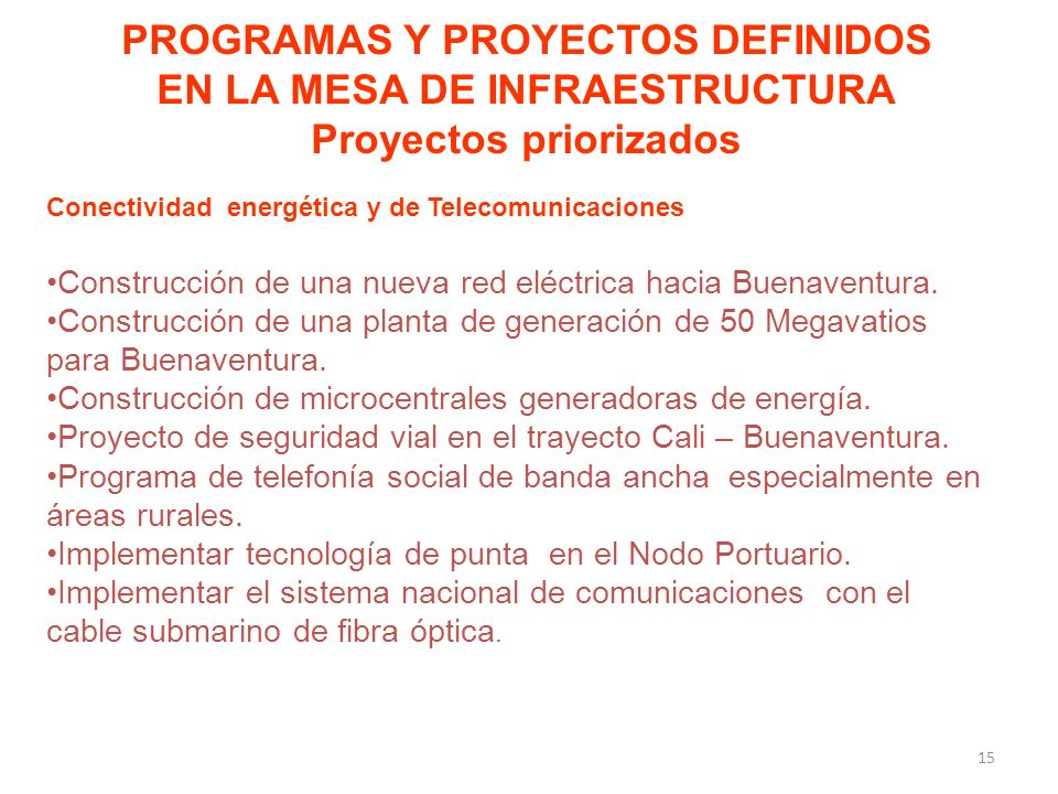 PROGRAMAS Y PROYECTOS DEFINIDOS EN LA MESA DE INFRAESTRUCTURA Proyectos priorizados Conectividad energética y de Telecomunicaciones Construcción de una nueva red eléctrica hacia Buenaventura.