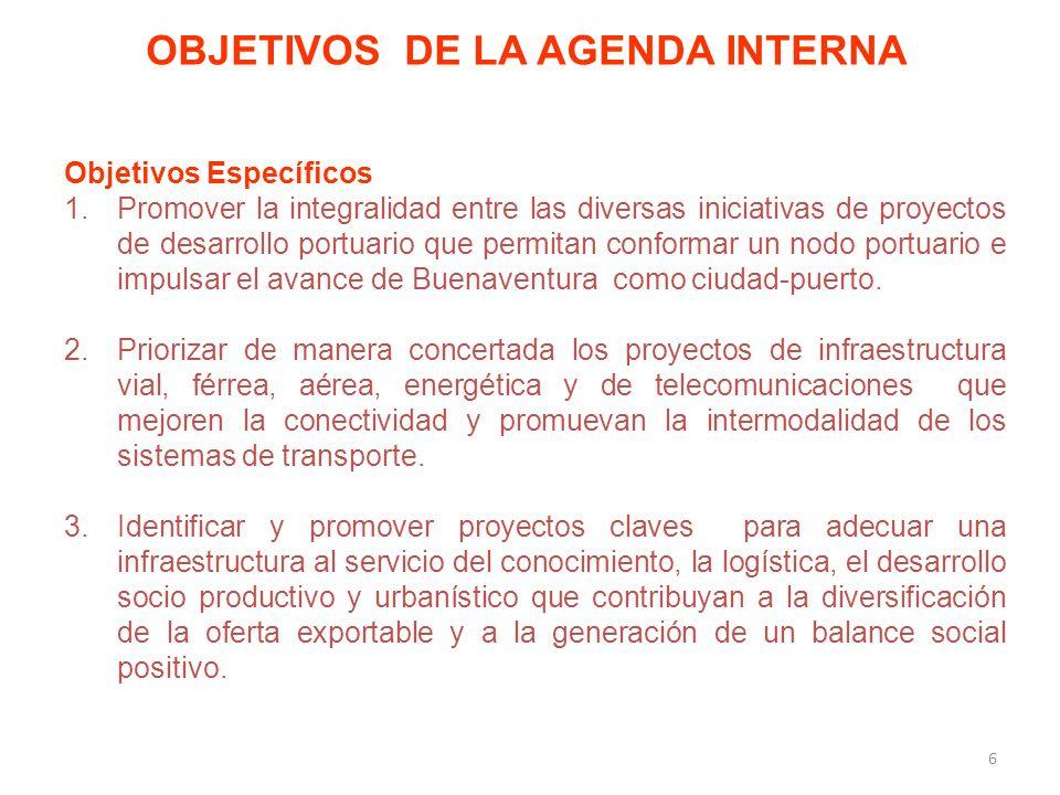 Objetivos Específicos 1.Promover la integralidad entre las diversas iniciativas de proyectos de desarrollo portuario que permitan conformar un nodo portuario e impulsar el avance de Buenaventura como ciudad-puerto.