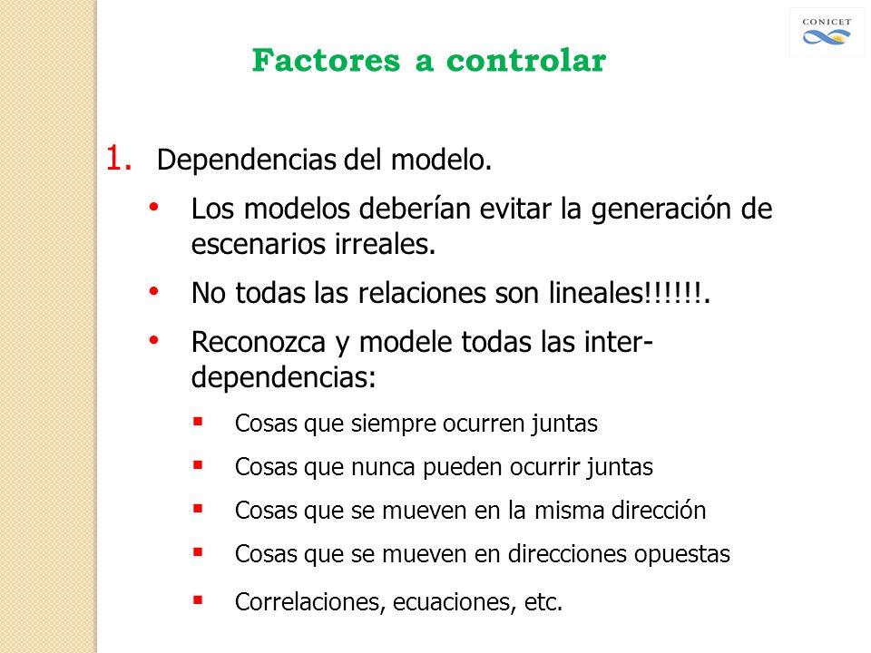 Factores a controlar 1. Dependencias del modelo. Los modelos deberían evitar la generación de escenarios irreales. No todas las relaciones son lineale