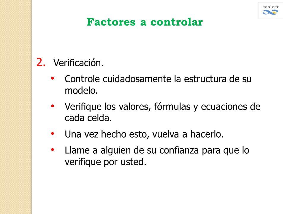 Factores a controlar 2. Verificación. Controle cuidadosamente la estructura de su modelo. Verifique los valores, fórmulas y ecuaciones de cada celda.