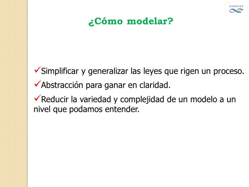 ¿Cómo modelar? Simplificar y generalizar las leyes que rigen un proceso. Abstracción para ganar en claridad. Reducir la variedad y complejidad de un m
