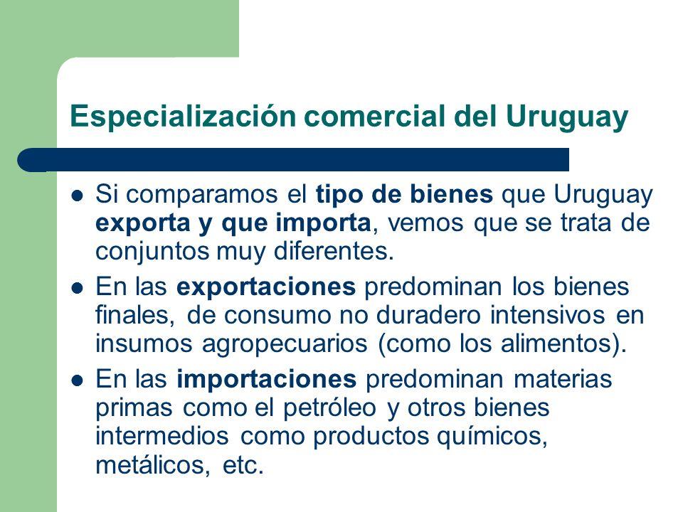 Especialización comercial del Uruguay Si comparamos el tipo de bienes que Uruguay exporta y que importa, vemos que se trata de conjuntos muy diferente