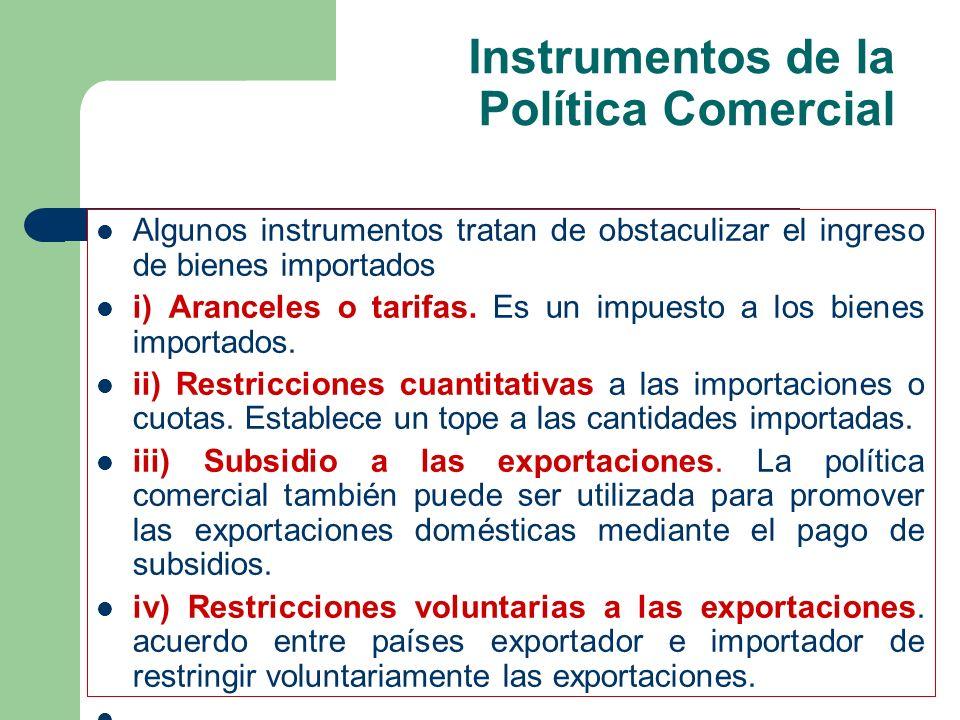 Instrumentos de la Política Comercial Algunos instrumentos tratan de obstaculizar el ingreso de bienes importados i) Aranceles o tarifas. Es un impues
