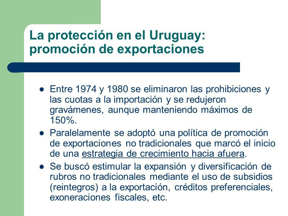 La protección en el Uruguay: promoción de exportaciones Entre 1974 y 1980 se eliminaron las prohibiciones y las cuotas a la importación y se redujeron
