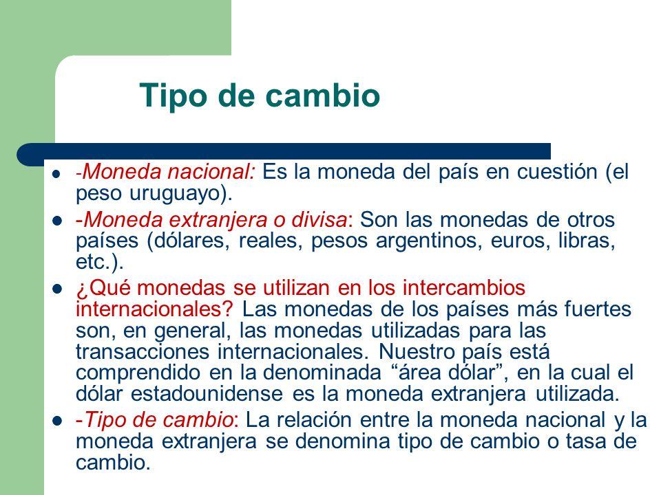- Moneda nacional: Es la moneda del país en cuestión (el peso uruguayo). -Moneda extranjera o divisa: Son las monedas de otros países (dólares, reales