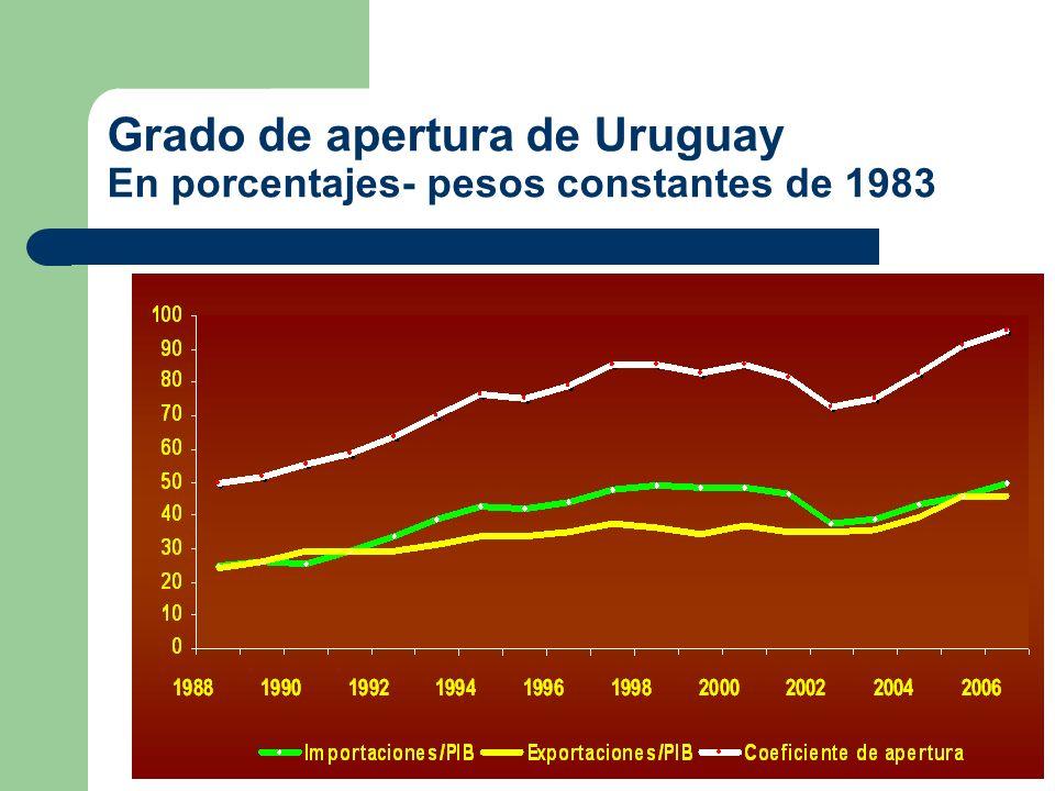 La apertura de la economía uruguaya La economía uruguaya intensificó su proceso de apertura en los últimos 30 años El comercio internacional se desarrolló fuertemente a partir de los noventa.