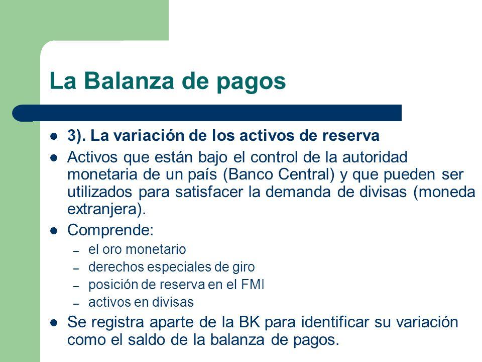 La Balanza de pagos 3). La variación de los activos de reserva Activos que están bajo el control de la autoridad monetaria de un país (Banco Central)