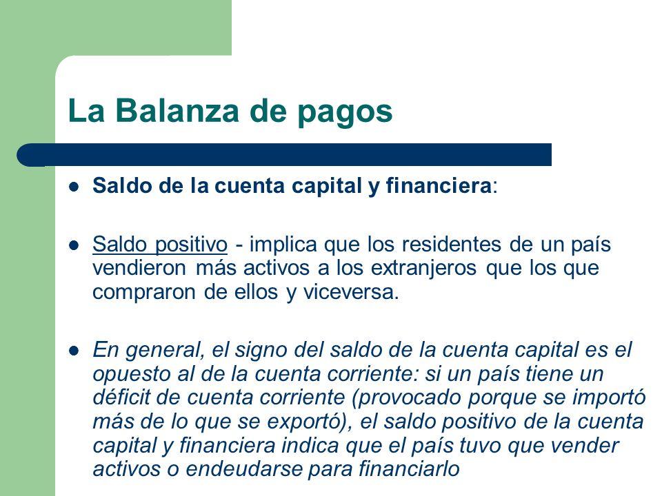 Saldo de la cuenta capital y financiera: Saldo positivo - implica que los residentes de un país vendieron más activos a los extranjeros que los que co