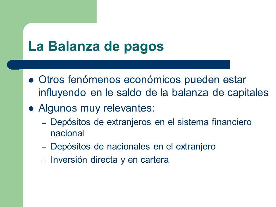 La Balanza de pagos Otros fenómenos económicos pueden estar influyendo en le saldo de la balanza de capitales Algunos muy relevantes: – Depósitos de e