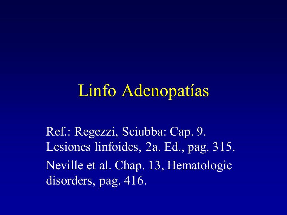 Linfo Adenopatías Ref.: Regezzi, Sciubba: Cap.9. Lesiones linfoides, 2a.