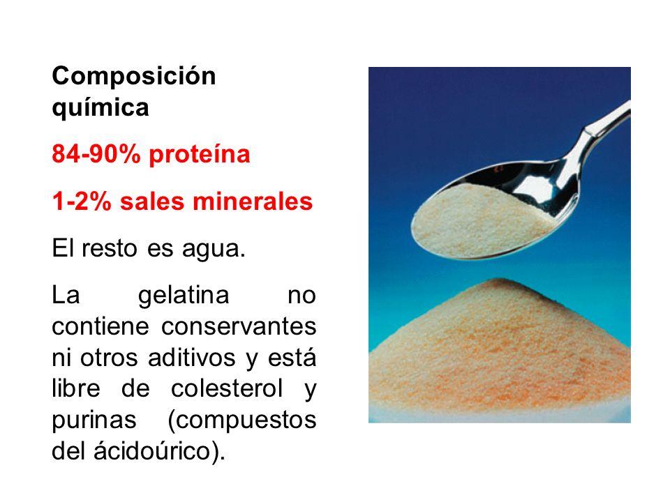 Composición química 84-90% proteína 1-2% sales minerales El resto es agua. La gelatina no contiene conservantes ni otros aditivos y está libre de cole
