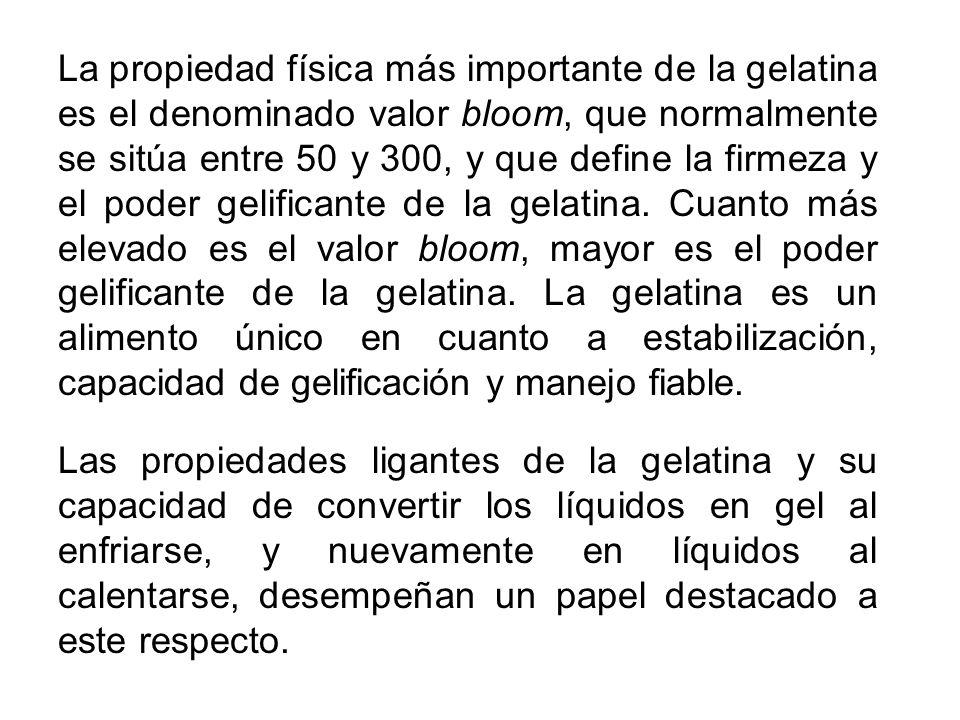 La propiedad física más importante de la gelatina es el denominado valor bloom, que normalmente se sitúa entre 50 y 300, y que define la firmeza y el