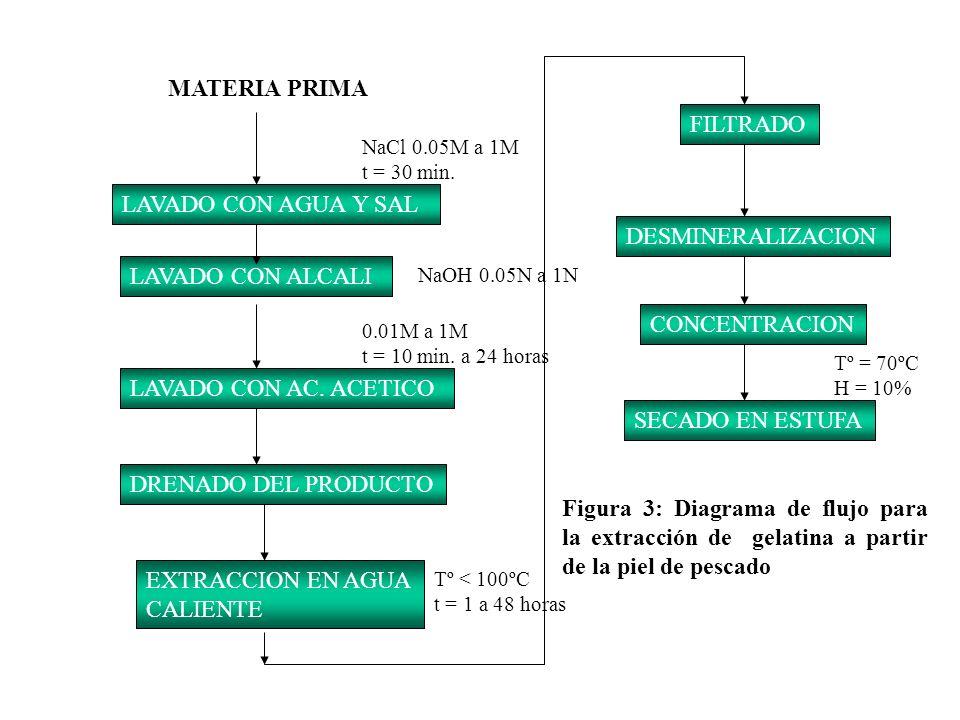 MATERIA PRIMA LAVADO CON AGUA Y SAL LAVADO CON ALCALI DRENADO DEL PRODUCTO SECADO EN ESTUFA LAVADO CON AC. ACETICO EXTRACCION EN AGUA CALIENTE FILTRAD