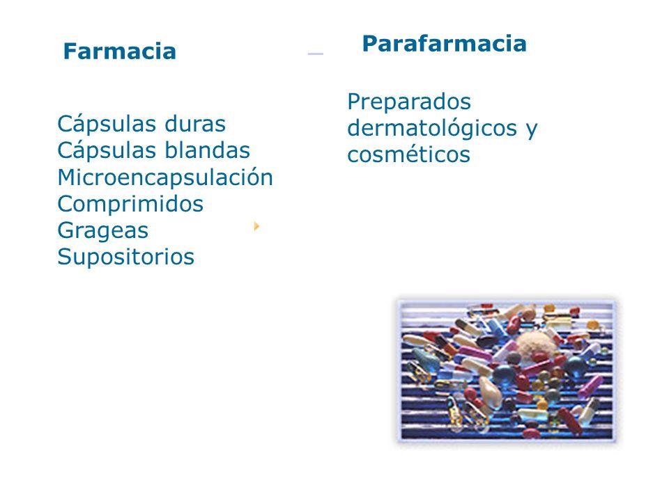 Farmacia Parafarmacia Cápsulas duras Cápsulas blandas Microencapsulación Comprimidos Grageas Supositorios Preparados dermatológicos y cosméticos
