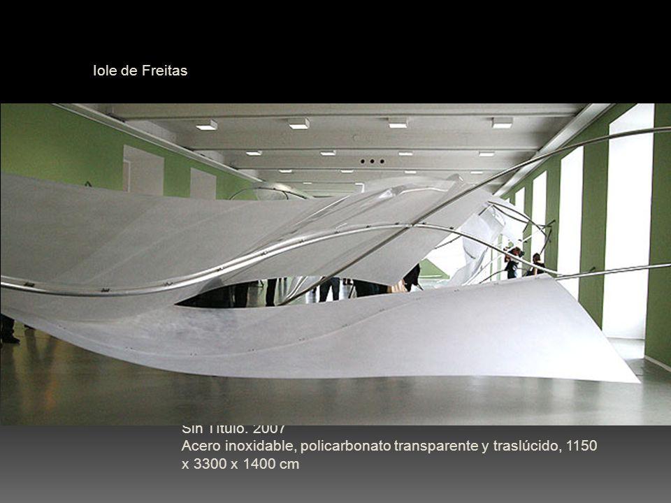 Iole de Freitas Sin Título. 2007 Acero inoxidable, policarbonato transparente y traslúcido, 1150 x 3300 x 1400 cm