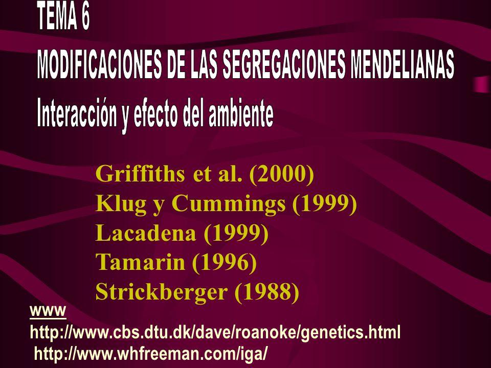 Griffiths et al. (2000) Klug y Cummings (1999) Lacadena (1999) Tamarin (1996) Strickberger (1988) www http://www.cbs.dtu.dk/dave/roanoke/genetics.html