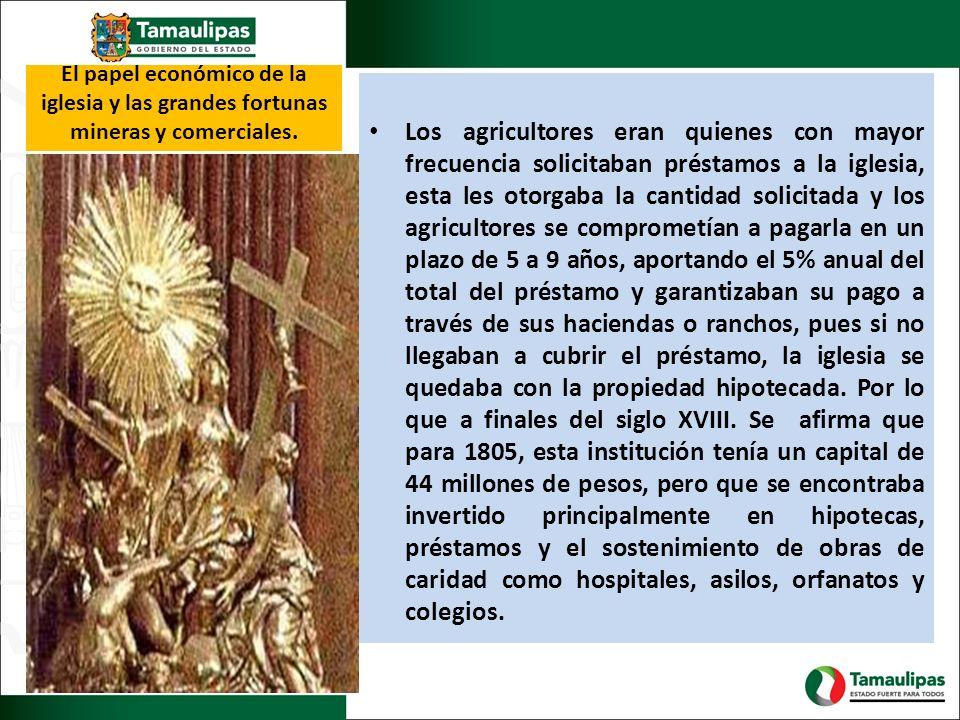 El papel económico de la iglesia y las grandes fortunas mineras y comerciales. Los agricultores eran quienes con mayor frecuencia solicitaban préstamo
