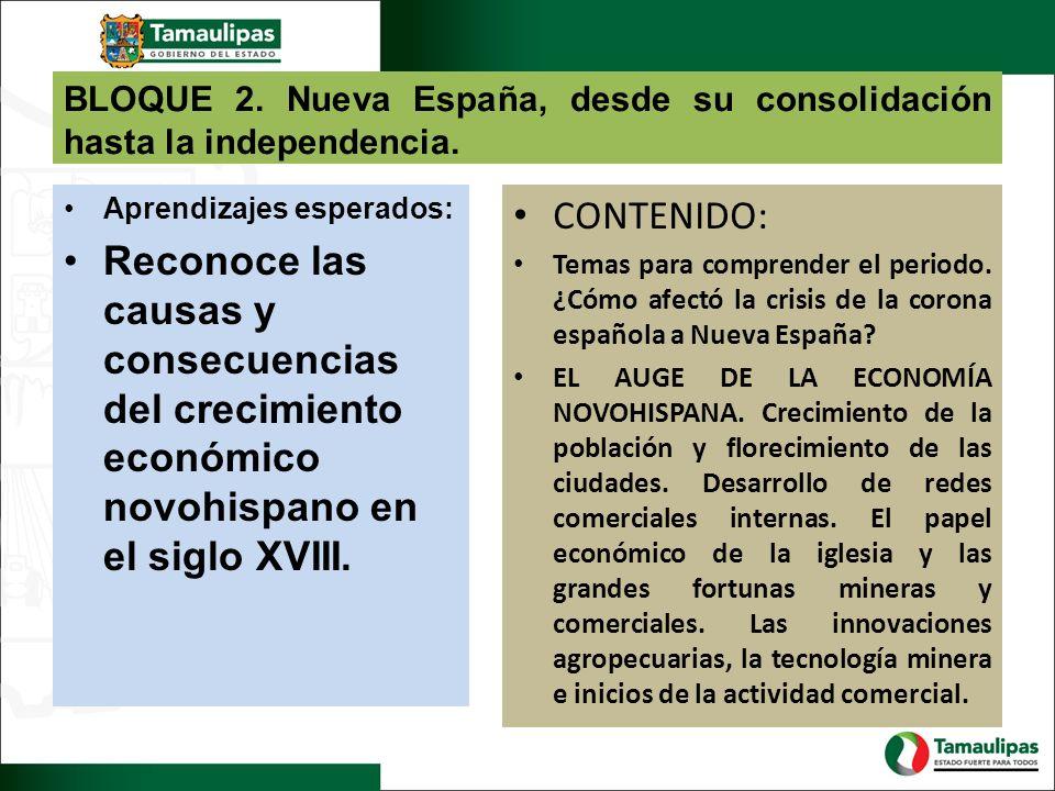 BLOQUE 2. Nueva España, desde su consolidación hasta la independencia. Aprendizajes esperados: Reconoce las causas y consecuencias del crecimiento eco
