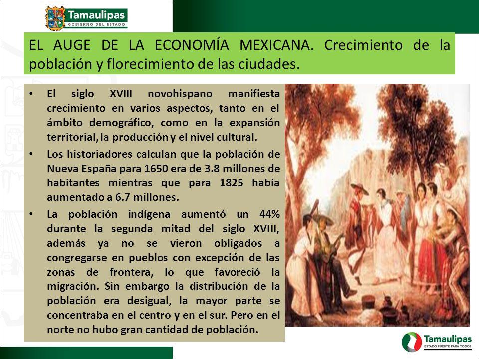 EL AUGE DE LA ECONOMÍA MEXICANA. Crecimiento de la población y florecimiento de las ciudades. El siglo XVIII novohispano manifiesta crecimiento en var