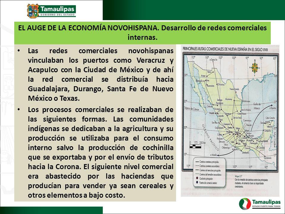 EL AUGE DE LA ECONOMÍA NOVOHISPANA. Desarrollo de redes comerciales internas. Las redes comerciales novohispanas vinculaban los puertos como Veracruz