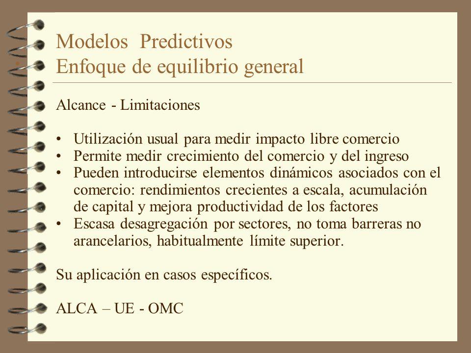 Modelos Predictivos Enfoque de equilibrio general Alcance - Limitaciones Utilización usual para medir impacto libre comercio Permite medir crecimiento