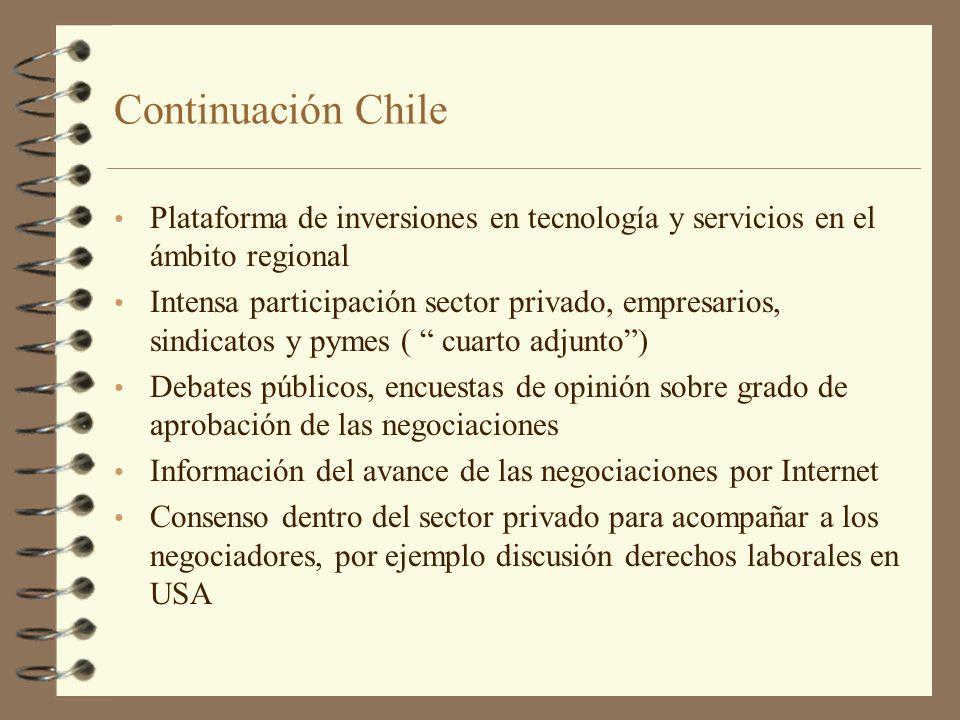 Continuación Chile Plataforma de inversiones en tecnología y servicios en el ámbito regional Intensa participación sector privado, empresarios, sindic